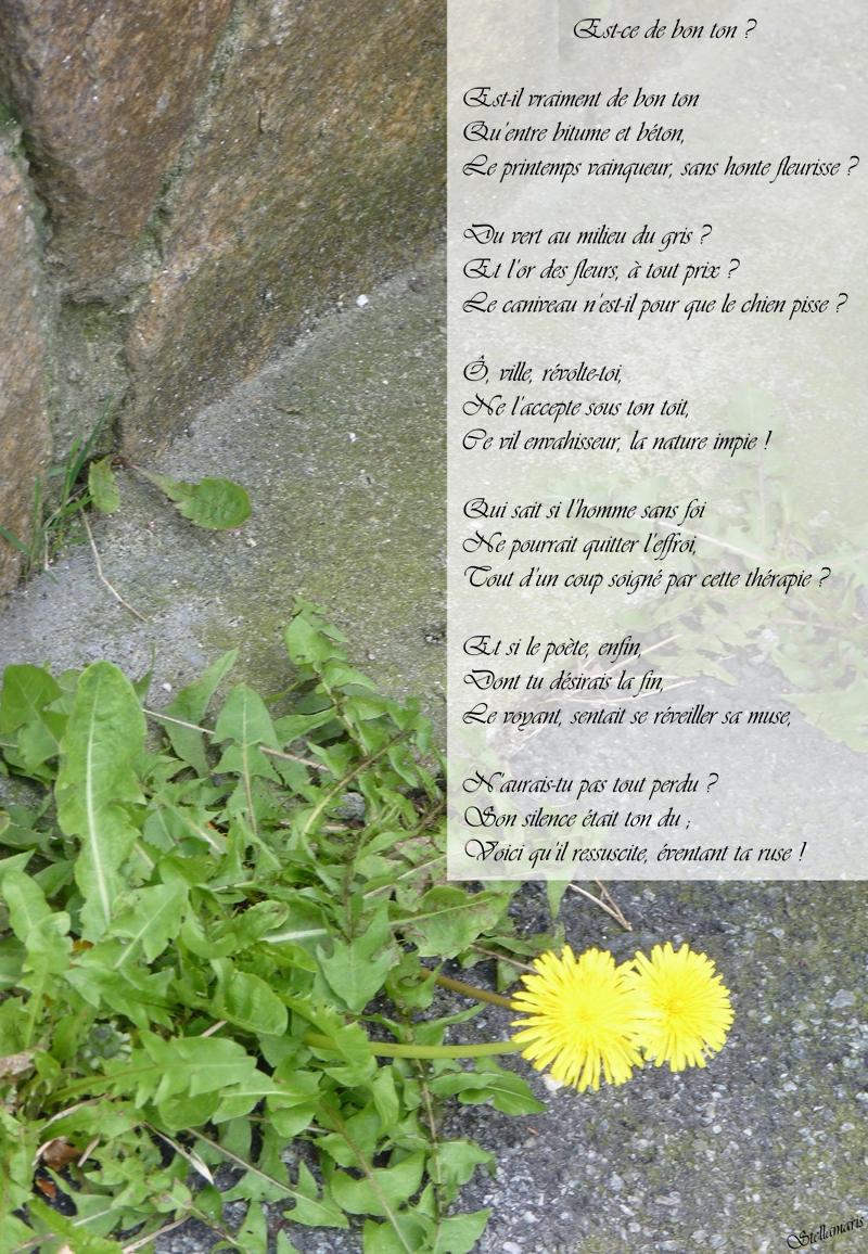 Est-ce de bon ton ? / / Est-il vraiment de bon ton / Qu'entre bitume et béton, / Le printemps vainqueur, sans honte fleurisse ? / / Du vert au milieu du gris ? / Et l'or des fleurs, à tout prix ? / Le caniveau n'est-il pour que le chien pisse ? / / Ô, ville, révolte-toi, / Ne l'accepte sous ton toit, / Ce vil envahisseur, la nature impie ! / / Qui sait si l'homme sans foi / Ne pourrait quitter l'effroi, / Tout d'un coup soigné par cette thérapie ? / / Et si le poète, enfin, / Dont tu désirais la fin, / Le voyant, sentait se réveiller sa muse, / / N'aurais-tu pas tout perdu ? / Son silence était ton du ; / Voici qu'il ressuscite, éventant ta ruse ! / / Stellamaris